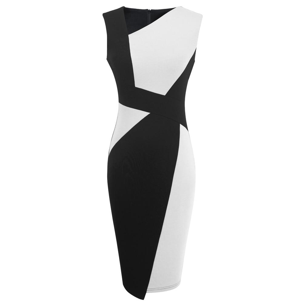 Vintage Women Patchwork Asymmetrical Collar Elegant Casual Work Office Sheath Slim Dress EB517 16