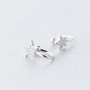 Хит, 1 шт., серьги в форме звезды серебряного цвета с фианитом, шикарные серьги-клипсы для женщин, поддельные пирсинг, ушные манжеты, ушные ман...