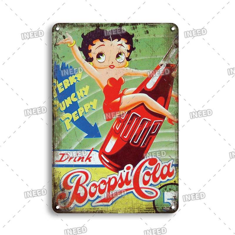 Betty Boop Metal Signs Retro Pub Bar Vintage  Beer Garage Office