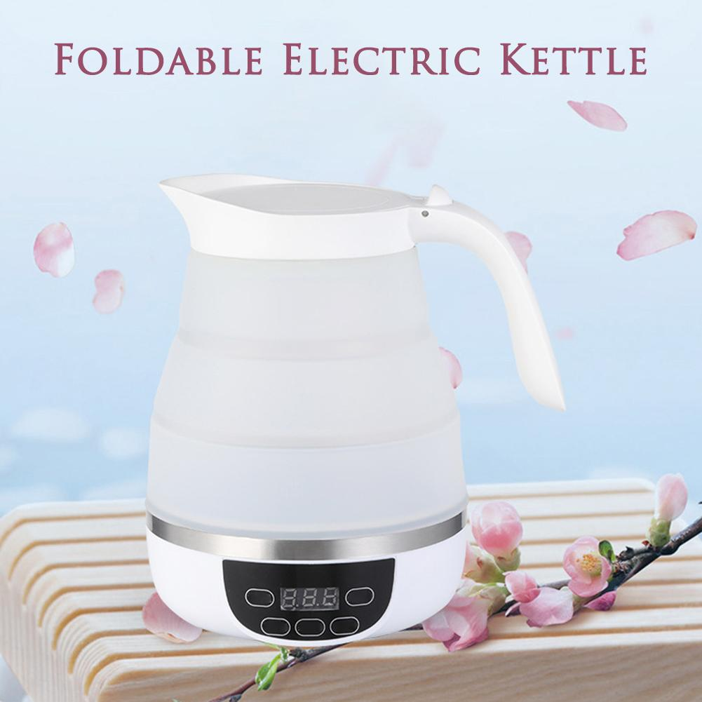 600ml Foldable Electric Kettle Silicone Portable Travel Camping Water Boiler Adjustable Voltage Kitchen Tool Electric Appliances