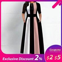 Винтажное женское платье трапециевидной формы с круглым вырезом и рукавом средней длины, женское платье в стиле ретро со стандартной талией, Осень-зима, горячая распродажа