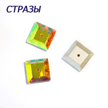 CTPA3bI 3400 AB Color One hole Square Shape Crystal Glass Beads Charms For Jewelry Making Needlework Accessories Art Crafts