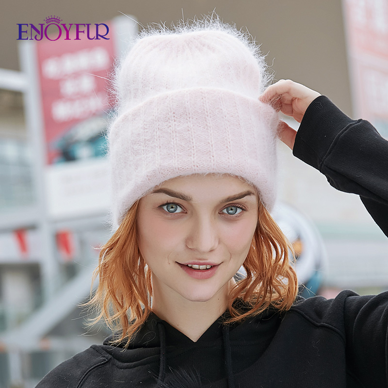 ENJOYFUR Winter Rabbit Fur Hair Hats For Women Double Lining Warm Female Beanies Fashion Youth Ladies Cap Wide Cuff Chic Style