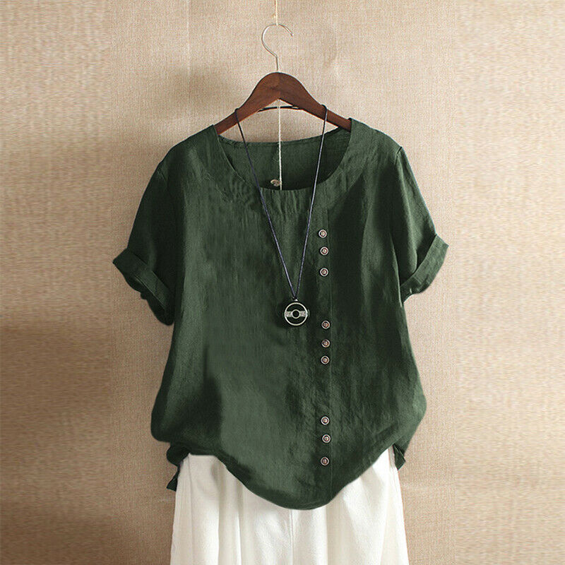 2020 Gothic Summer Women Cotton Linen Baggy Blouse 2