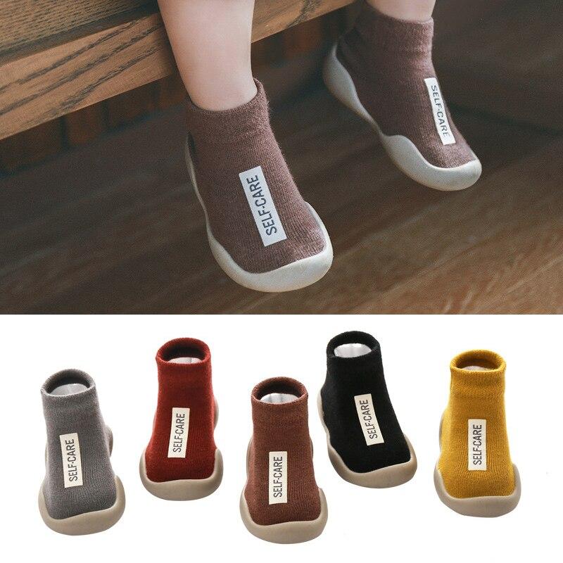 Toddler Kids Boys Crib Shoes Girls Soft Rubber Sole Floor Socks Boots Sneakers Antislip First Walker Newborn Breathable 6-36M