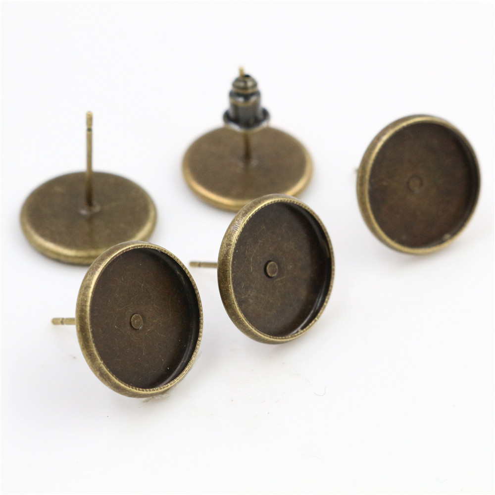 12mm 50pcs Bronze Plated Earring Studs(with Ear Plug) Earrings Blank/Base,Fit 12mm Glass Cabochons,Buttons (L3-29)