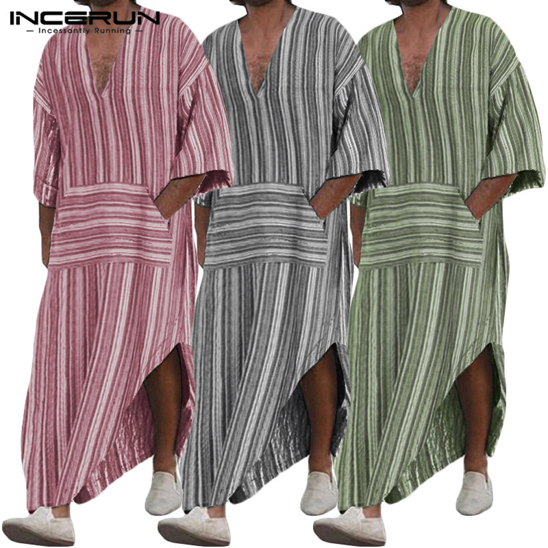 INCERUN Fashion Men Chic Stripe Long Sleeve Muslim Kaftan Casual V Neck Retro Jubba Thobe Comfort Cotton Street Mens Long Tops 7