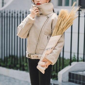 Ailegogo New Winter Women Thick Warm Faux Lamb Lether Jacket with Belt Turndown Collar Streetwear Loose Sheepskin Coat Outwear 2