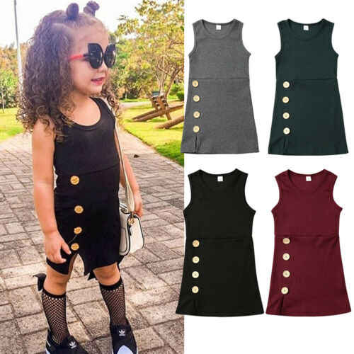 1-4Y Infant Baby Girl Knit Dress Clothes Solid Sleeveless Button Knitted Plain Casual Straight Sundress Dresses