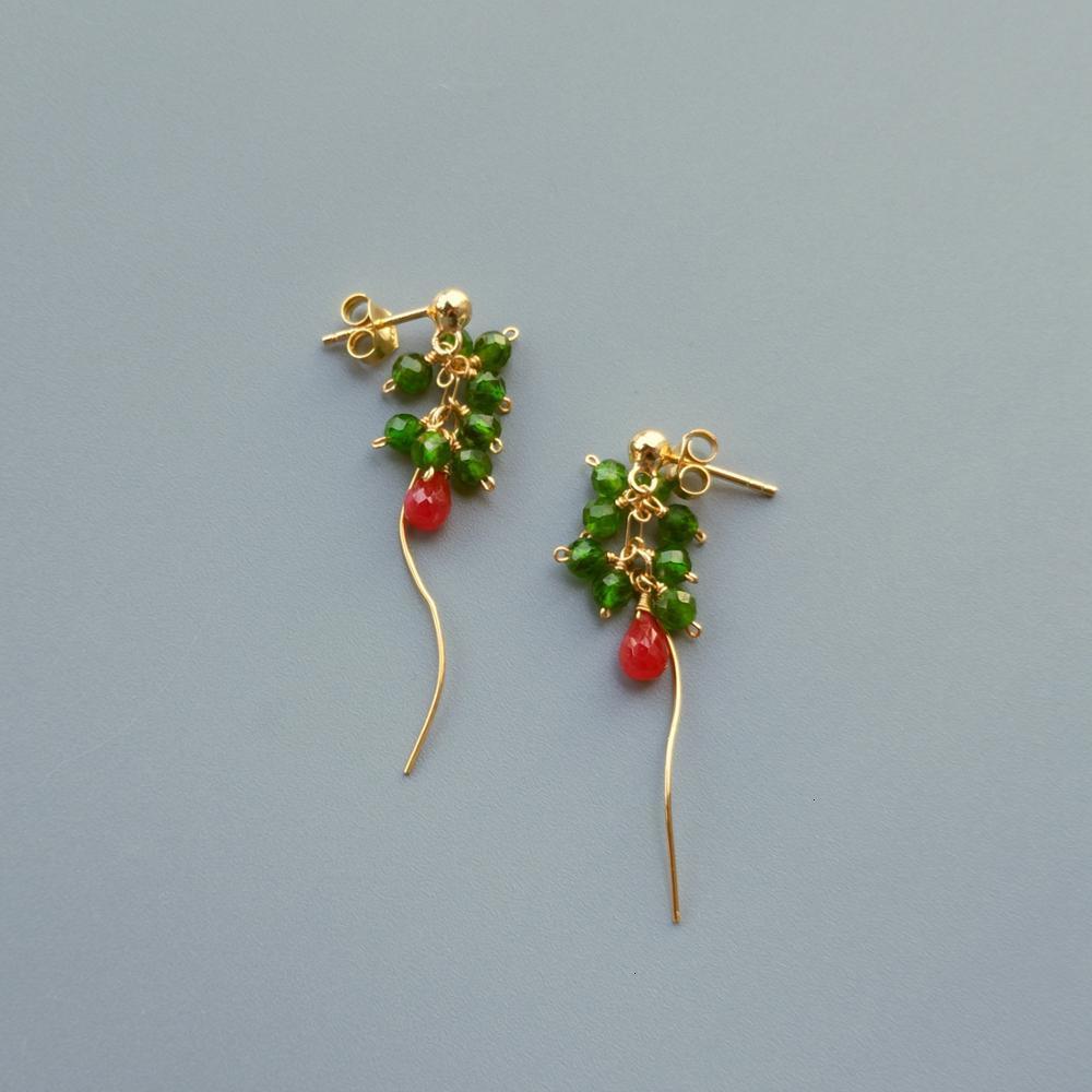 Lily bijoux réel Rubys 3-4mm vert Diopside boucles d'oreilles 925 en argent Sterling à la main délicat élégant bijoux pour les femmes cadeau