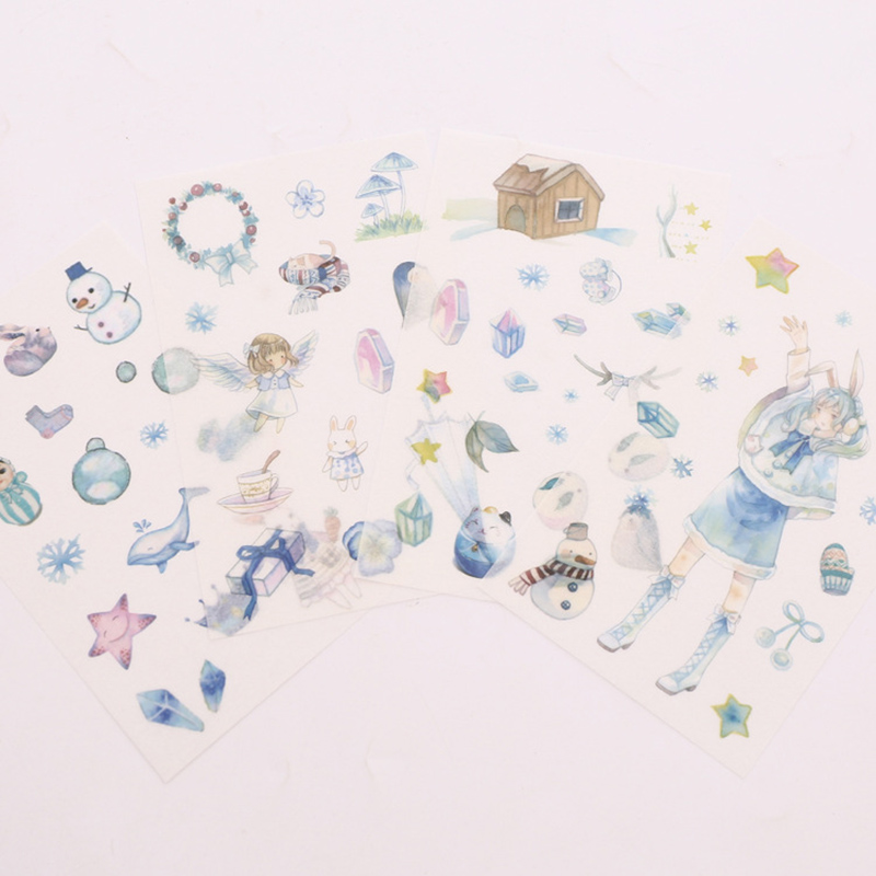 4Sheets Cute Winter Stickers Kawaii Snow Stationery Sticker Paper Adhesive Sticker For Kid DIY Scrapbooking Diary Album Supplies