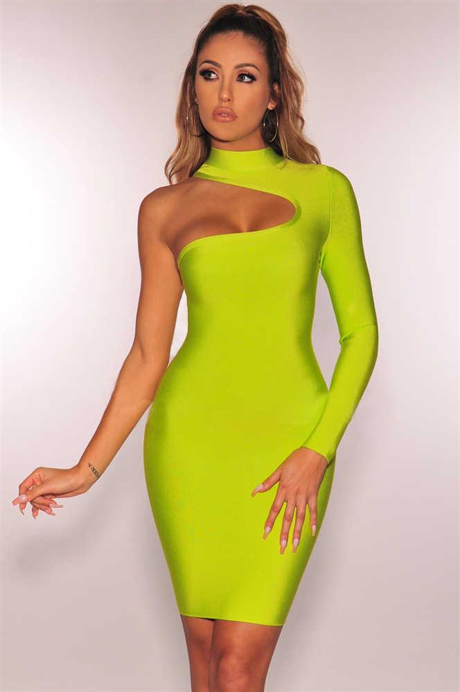 ผู้หญิงเซ็กซี่แฟชั่นแขนยาวหนึ่งไหล่สีดำสีเขียวผ้าพันแผลชุดมินิปาร์ตี้ Vestido