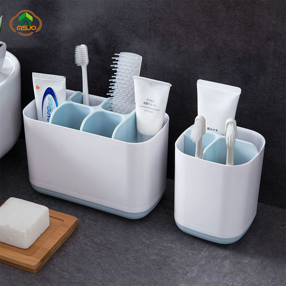 MSJO Toothbrush Holder Shaving Makeup Brush Electric Teeth brush Toothpaste Holder Organizer Case Stand Bathroom Accessories image