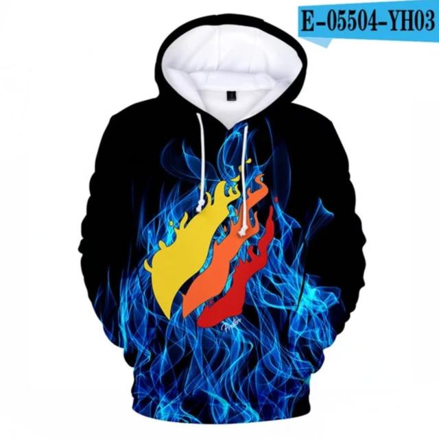 New 3D Fire Hoodies Preston Playz Hoodie Men Women Hoodies Streetwear Fashion Flame Print Hoody Harajuku Popular Sweatshirt