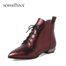 SOPHITINA Pointed Toe Ankle Boots Wine Red Genuine Leather Fashion Woman Shoes Square Heel Zipper design Lady Boots PO63-6(China)