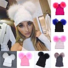 Меховым помпоном шапки зимняя шапка 2 помпонами для девушек
