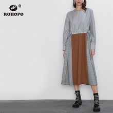 ROHOPO Round Collar Long Sleeve Striped Plaid Midi Dress Peplum Back Belted Ladies Patchaork Flared Hem Robe #9288 plus shawl collar belted plaid romper