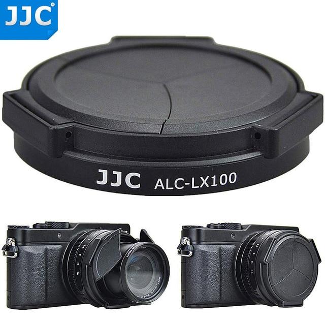 JJC automatyczna osłona obiektywu do Panasonic LUMIX DMC LX100 DMC LX100II LEICA D LUX (Typ 109) D LUX7 jako DMW LFAC1 osłona przeciwsłoneczna