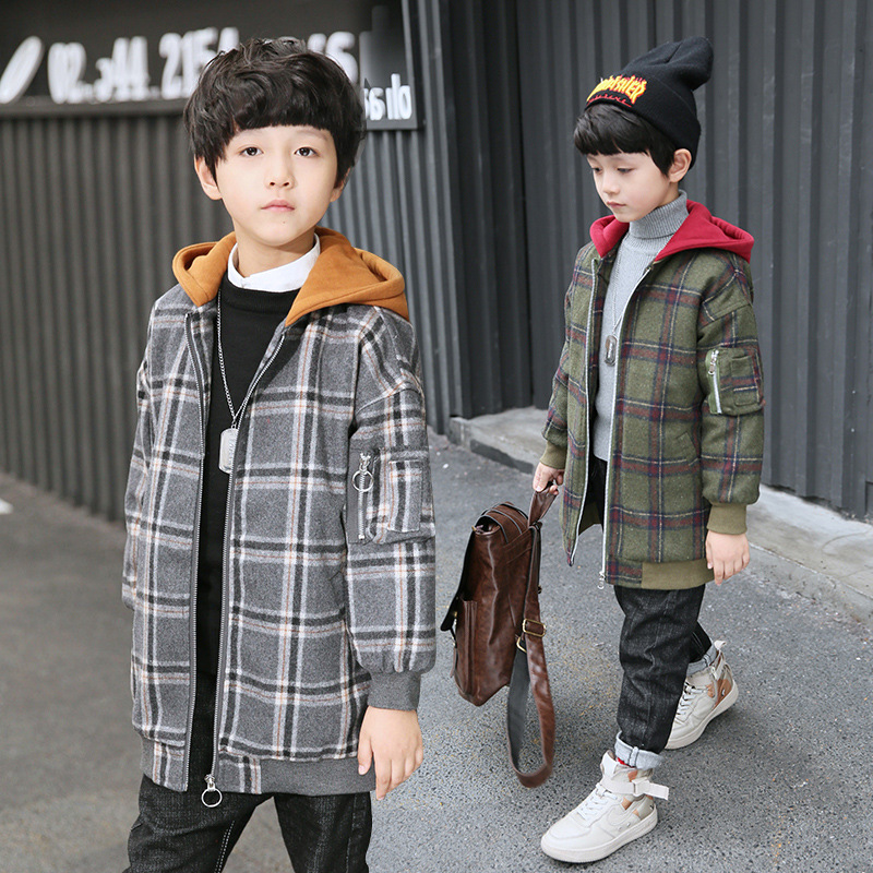 de medio longo zipper cardigan casacos xadrez falso criancas la outwear 04