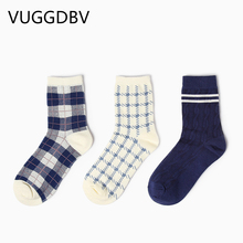skarpetki damskie Couple socks autumn British style wild houndstooth Cotton chaussette femme free delivery