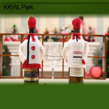 Knitted Christmas Wine Bottle Sets Of Sweater Red Wine Bottle Sets Of Christmas Beer Bottles Ornaments Table Decor,.(China)