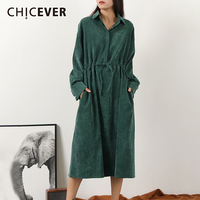 CHICEVER Flannel Drawstring Dress For Women Lapel Collar Long Sleeve High Waist Oversize Midi Female Dresses 2019 Fashion New