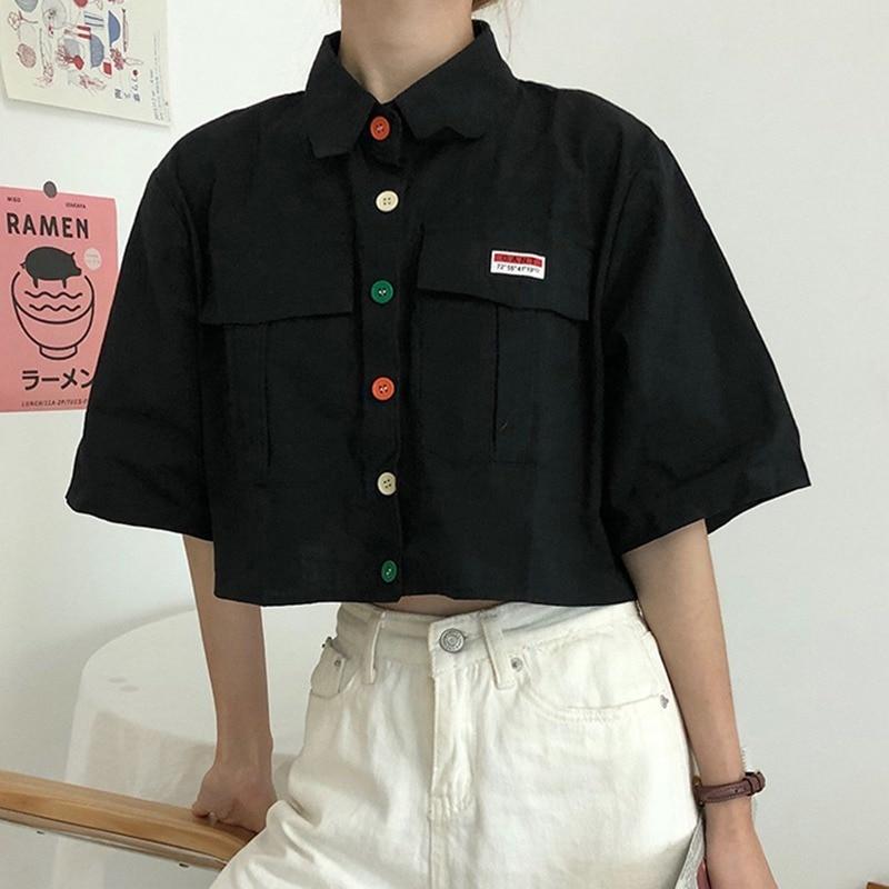 Women's ShirtHarajuku Short Sleeve Polo Collar Casual Cotton Preppy Top Girls Fashion Letter Embroidery Blusas Femininas