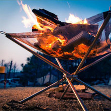 Outdoor Portable Fire Rack Folding Table Grill Stainless Steel Point Charcoal Stove Super Light Grid Heating Wood Stove Camping(China)