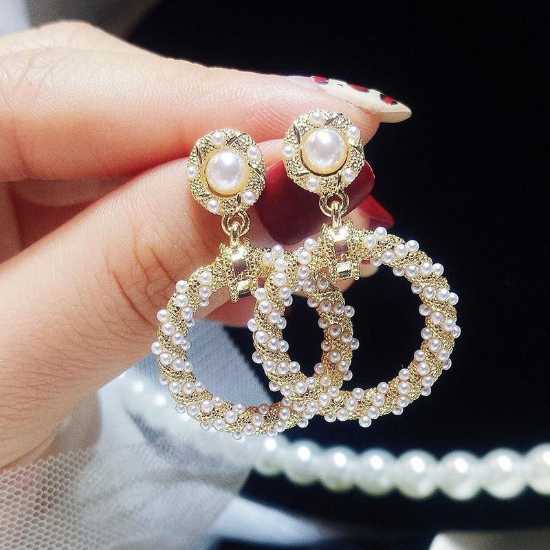 PickyanDco Geometric Circle Earring Long Round Stud Earrings for Women Accessories Big Ear Drops Black Crystal Earrings XC005 Pakistan