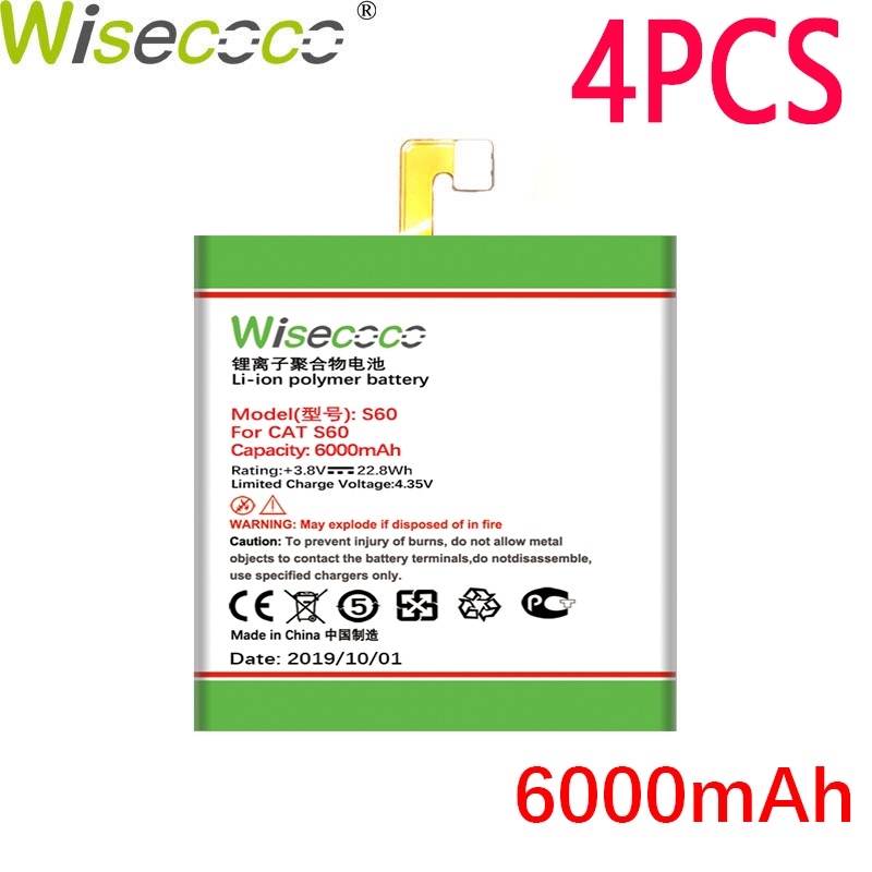 WISECOCO 4PCS 6000mAh <font><b>S60</b></font> <font><b>Battery</b></font> For <font><b>CAT</b></font> <font><b>S60</b></font> Mobile Phone In Stock Latest Production High Quality <font><b>Battery</b></font> With Tracking Number image