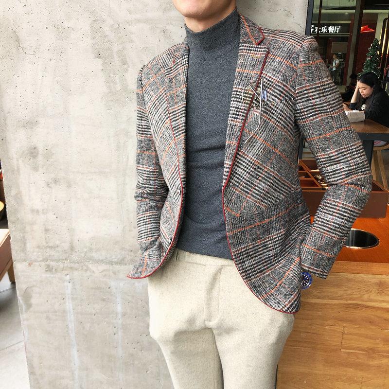 Wool Blend Tweed  Blazers Men 2019 Antumn Winter Jacket Men's Plaid Suit Jacket Men Blazer Masculino Vintage Terno Masculino 1