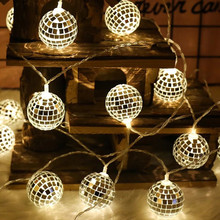 Battery powered Mirror ball light string ballroom decorative lights festive decoration for Christmas tree,Holiday,Birthday festive products led lantern flashing light ice fence light snow decorative light christmas lights christmas tree pendant