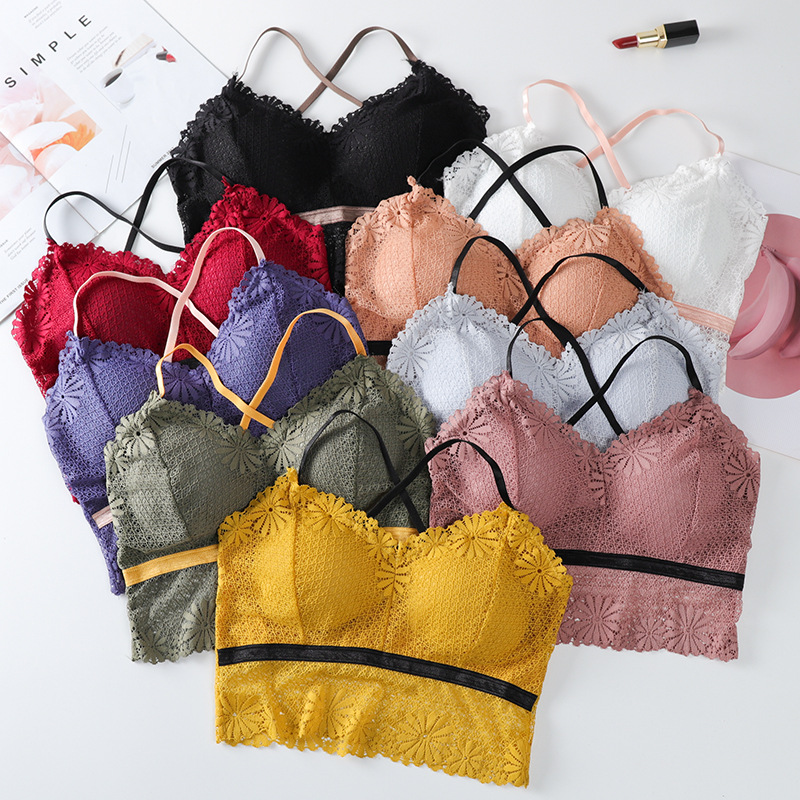 2020 Girls Lingerie 9 Colors Women Push Up Bra Wireless Lace Tanks Tops High Quality Fashion Bralette Wire Free Underwear Female