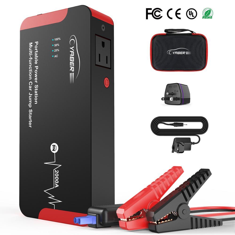 Yaber Jump Starter 2000A Emergency Car Jump Starter Battery Power Bank Auto Booster 22000mAh 100W AC Output