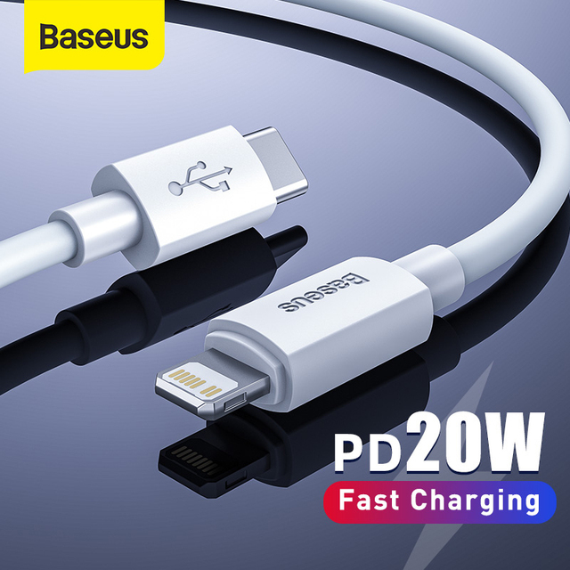 Baseus USB C Cable for iPhone 12 11 20W PD Fast Charge USB C to Lighting Cable for iPhone 8 Xr Charger Data USB Type C Cable 1
