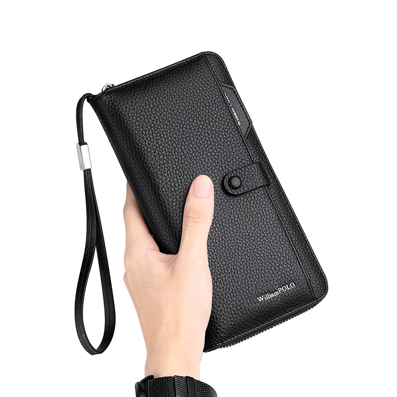 Men's Genuine Leather Long Wallet First Layer of Leather Zipper Men and Women Handbag Couple Fashion Business Casual Bag Card