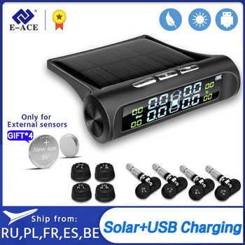 E-ACE energía Solar TPMS con alarma de presión de neumático de coche sistema de Monitor sistemas de alarma de seguridad de coche neumáticos de presión de advertencia de temperatura
