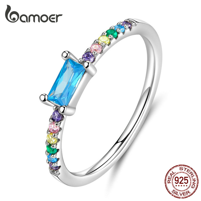 Bamoer Statement Finger Rings Cubic Zirconia Stone Wedding Engagement Silver 925 Jewelry Bijoux SCR590