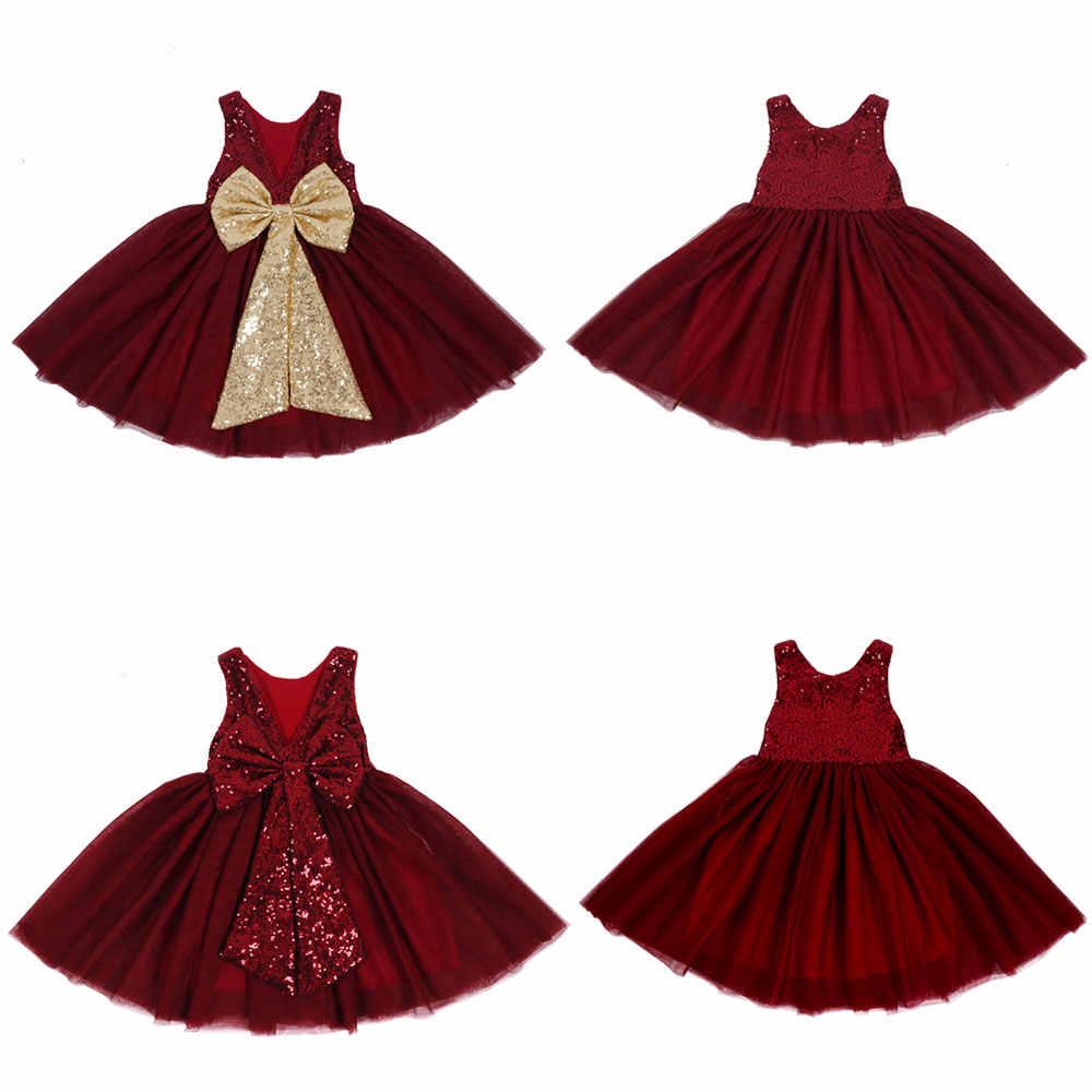 Baby Girl Sequin Tutu Dresses V neck Kids Dress Princess Bow Dress