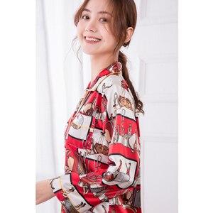 Image 3 - JRMISSLI Conjunto de Pijama con estampado de flamenco para Mujer, ropa de dormir para el hogar de satén, elegante, de seda, a la moda, para Primavera, 2019