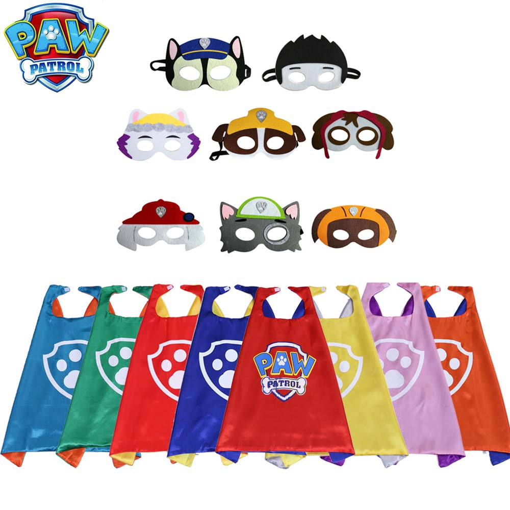 Paw Patrol Mask Cape Cloak Cosplay Cartoon 70cm Birthday Gifts Christmas Halloween Party Decoration Kids Toys For Children D58