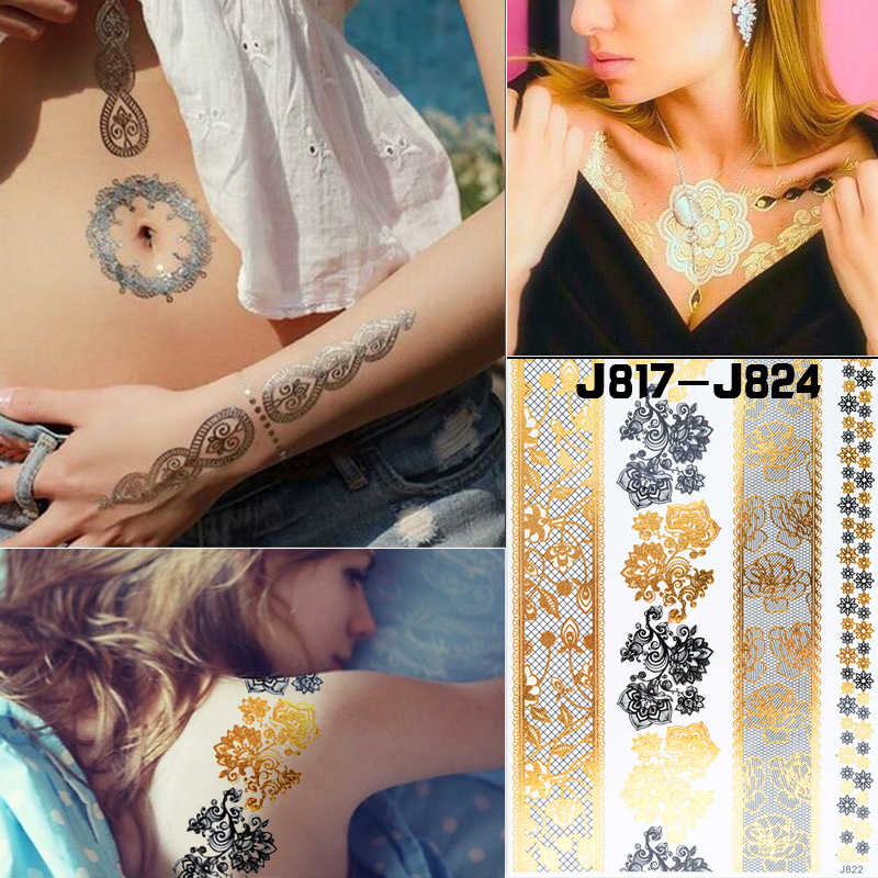 Cross Border Specifically For Foreign Trade New Style Hot Sales Black And Golden Lace Tattoo Sticker Disposable Lace Bronze Patt