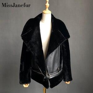 Image 5 - Darmowa wysyłka kobiety moda kurtka z prawdziwej skóry zimowe ciepłe futro kożuch wełniane kurtki plus rozmiar wełna z owcy strzyżonej