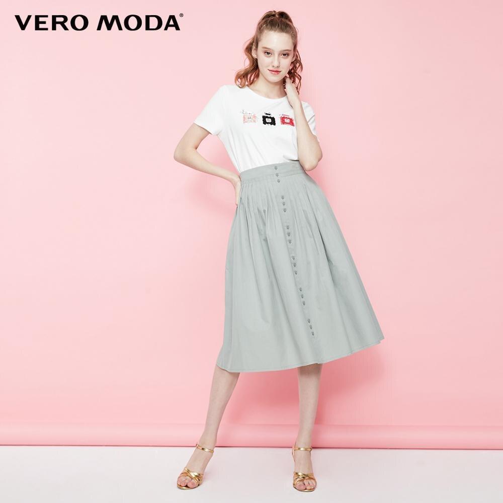 US $27.68 34% СКИДКА|Женская плиссированная юбка на пуговицах из 100% хлопка Vero Moda | 319216524|Юбки| |  - AliExpress