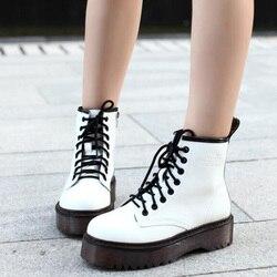 Fashion Women Jason Martins Boots Autumn Winter Motorcycle Ankle Platform Boots Ladies Boots Black PU Leather Shoes