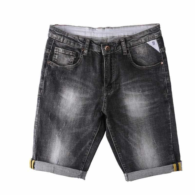 Jeans Shorts Man Zomer 2020 Koreaanse Mode Punk Stijl Biker Straight Denim Broek Knielange Toevallige Rits Cowboys Mannen korte