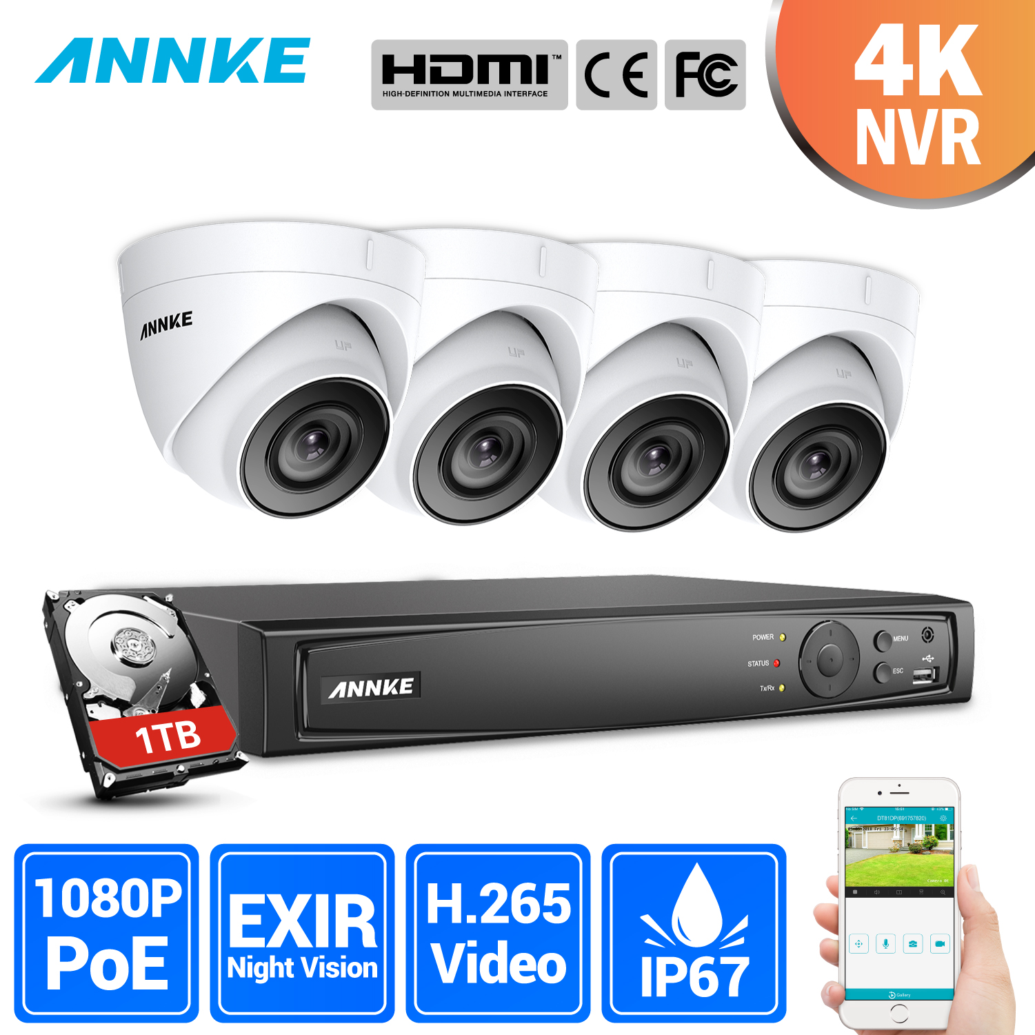 ANNKE Professional 2MP POE Security Camera System 4K 8CH Security NVR With 4x 1080P CCTV Dome Cameras