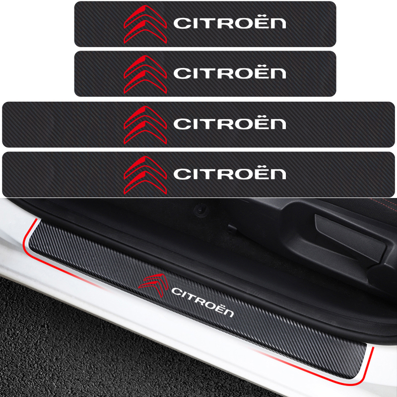 4PCS Car Styling Door Carbon Fiber Sill Scuff Plate Decor Sticker For Citroen C4 C1 C5 C3 C6 C-ELYSEE VTS Car Accessories