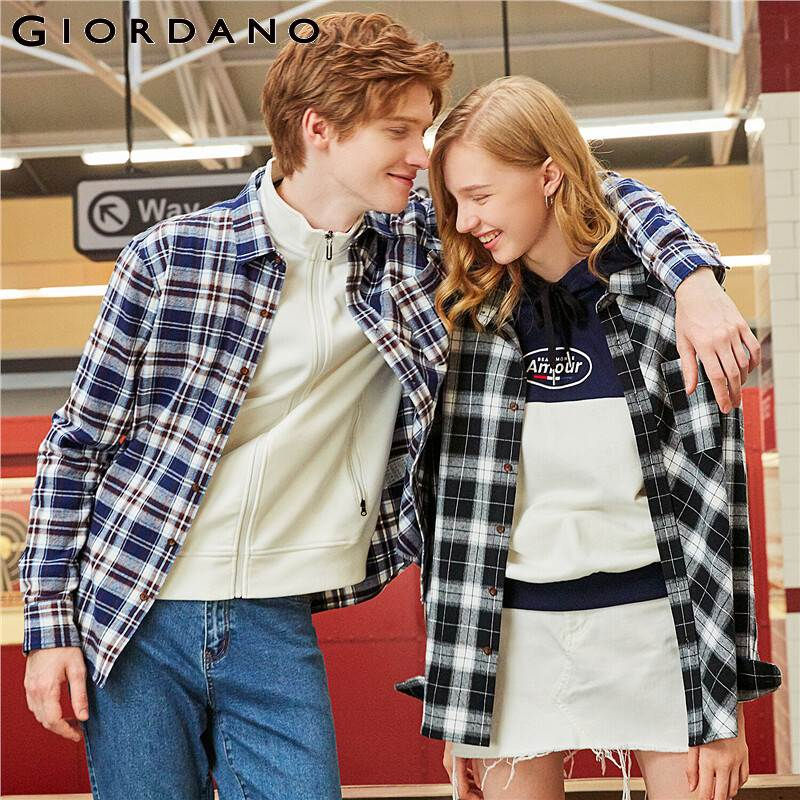 Giordano Men Shirts Flannel Asymmetric Plaid Long Sleeve Shirt Cotton Single Pocket Camisas Hombre 13049804