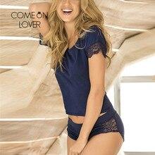 Comeonlover נשים הלבשת סטי פיג מה סקסי טלאי תחרה Homewear פרחוני O צוואר כותנה אופנה באיכות גבוהה חליפות RI80867